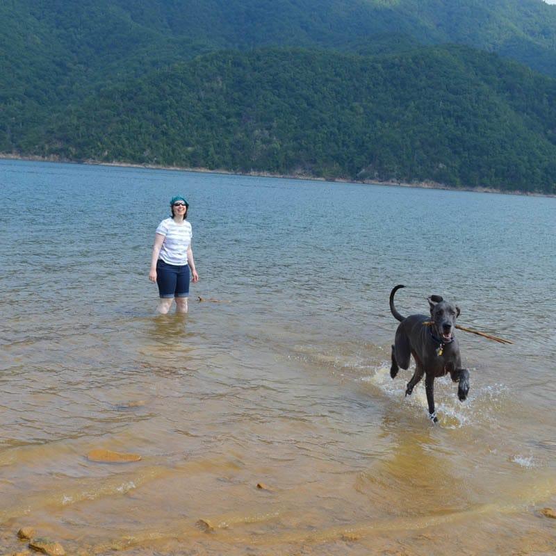 Puddles and me at Watauga Lake