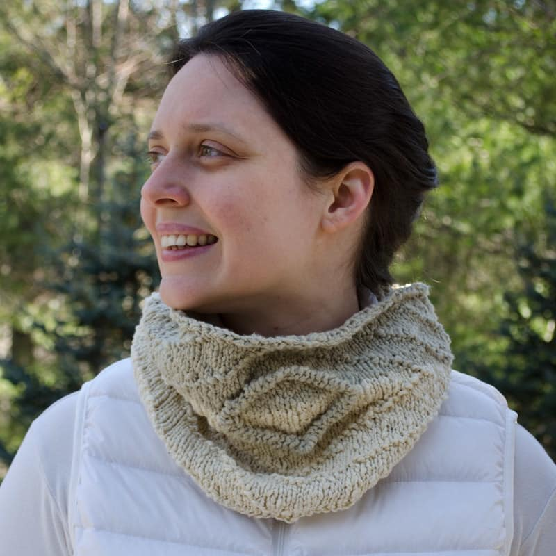 Obverse Cowl with applied purl I-cord
