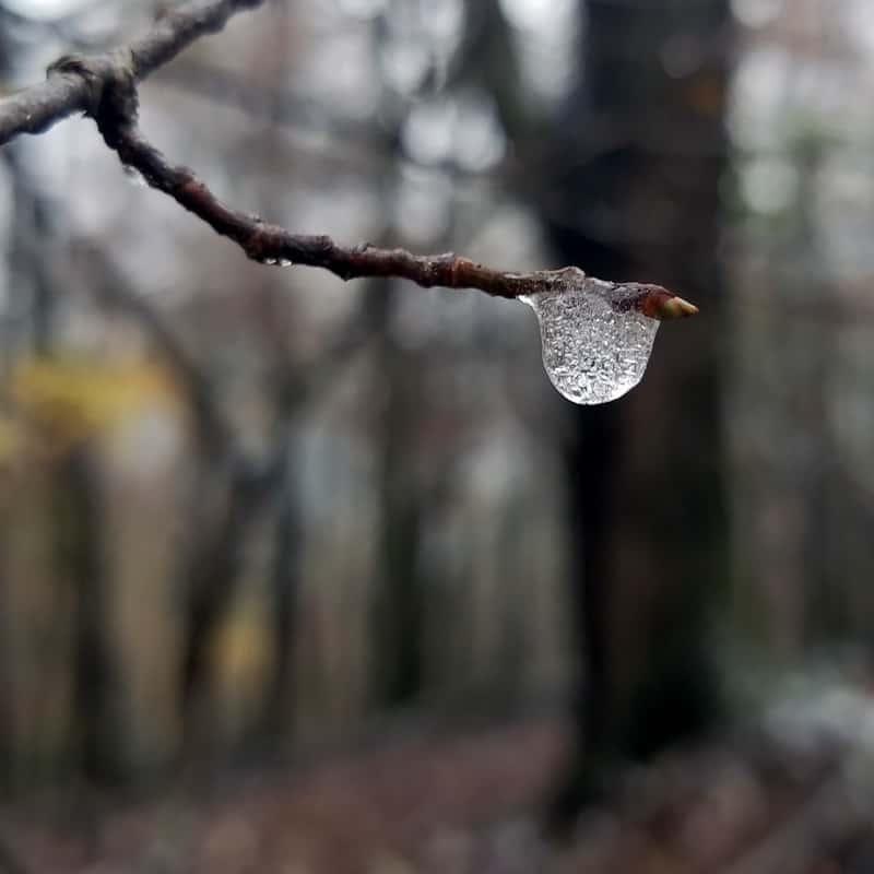frozen raindrop close up