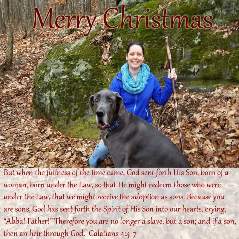 Merry Christmas photo with Lindsay and Puddles and Galatians 4:4-7