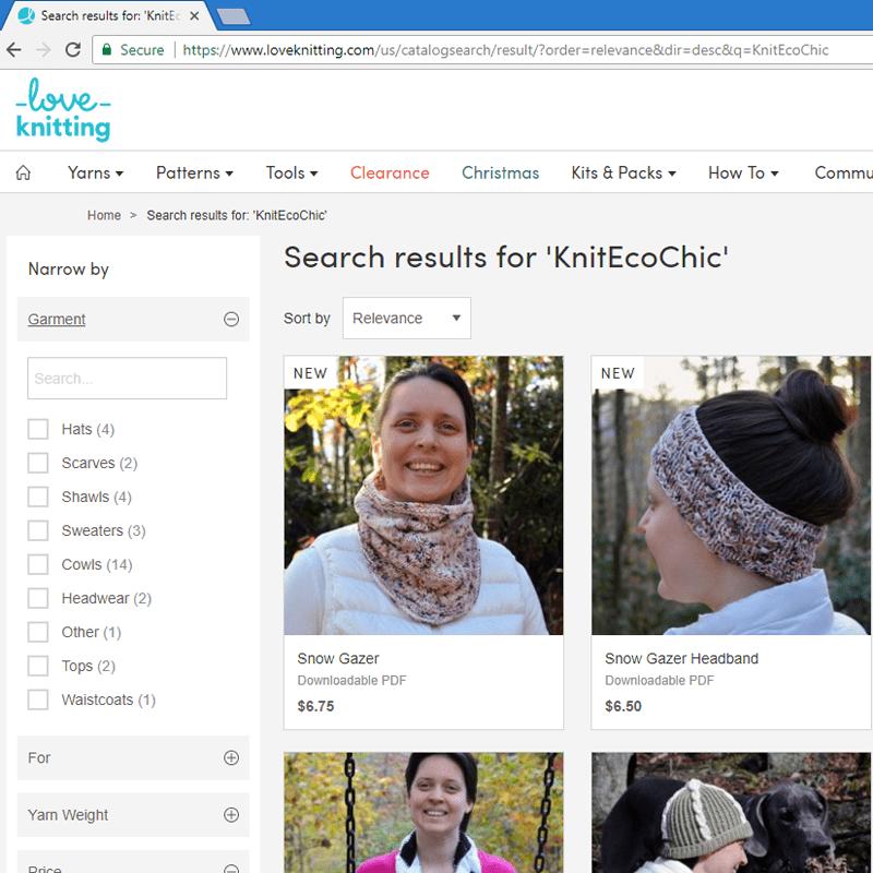 Knit Eco Chic patterns now available on loveknitting