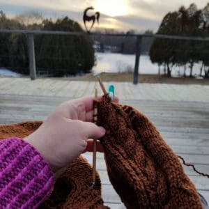 knit while wearing your knitting