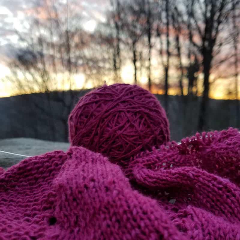 knitting at sunset