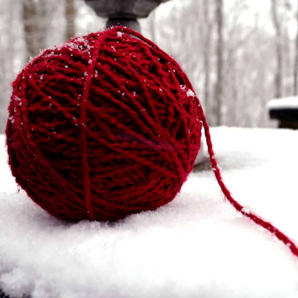 red yarn ready to use