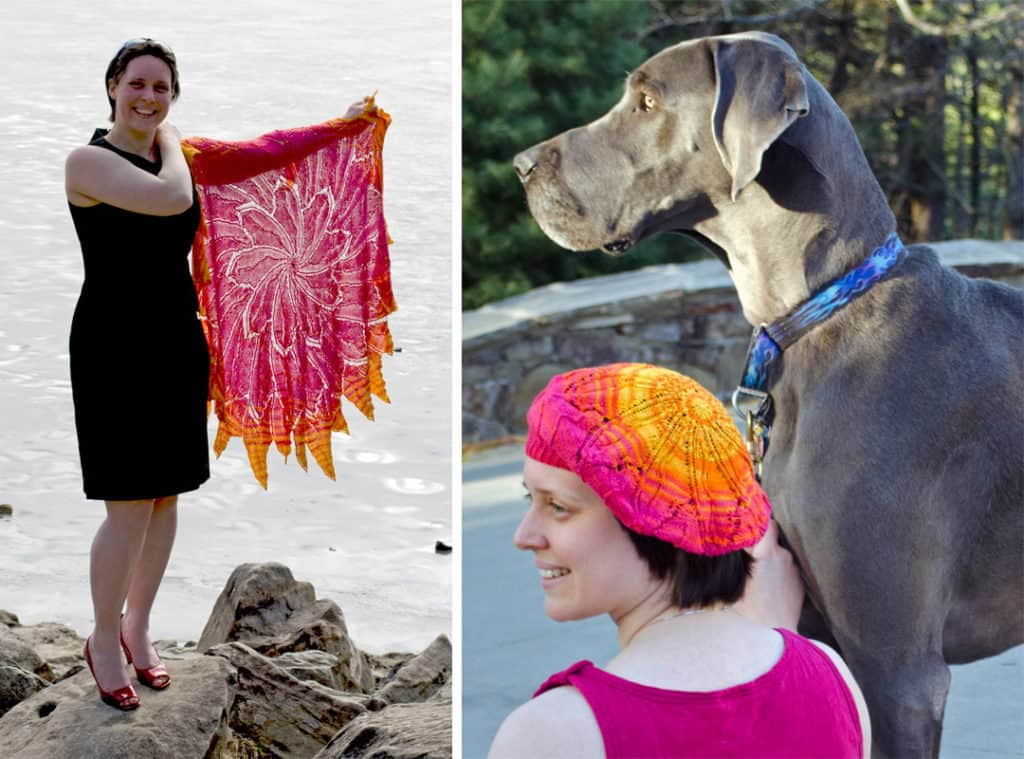 Solar Flare Circular Shawl (left); Sun Fire (beret) (right) both using one 6 skein set of The Unique Sheep's Organic Cotton and Bamboo fingering weight yarn