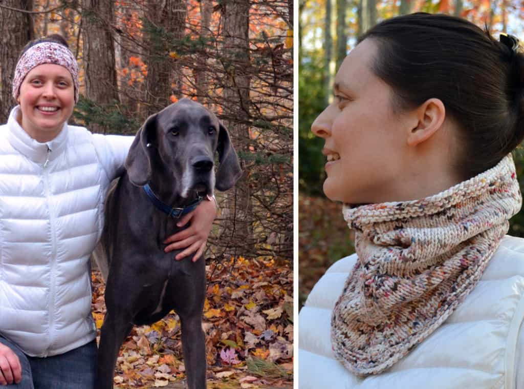 Snow Gazer Headband is the upcylce on the left; Snow Gaze cowl, the original design on the right.  Both use one skein of Birdies Knits hand dyed organic cotton yarn.