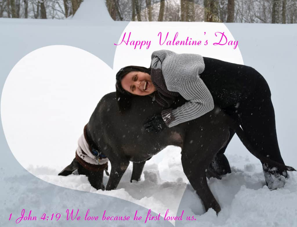 Happy Valentine's Day photo of Lindsay and Puddles 1 John 4:19