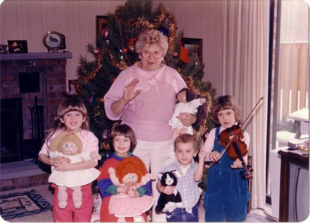 Vera with 4 grandchildren Christmas