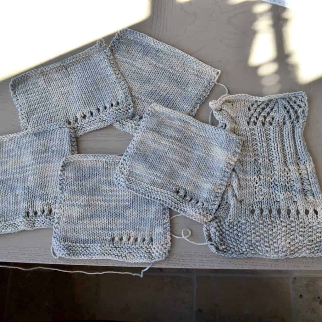 Verano Swatches with textured stitches