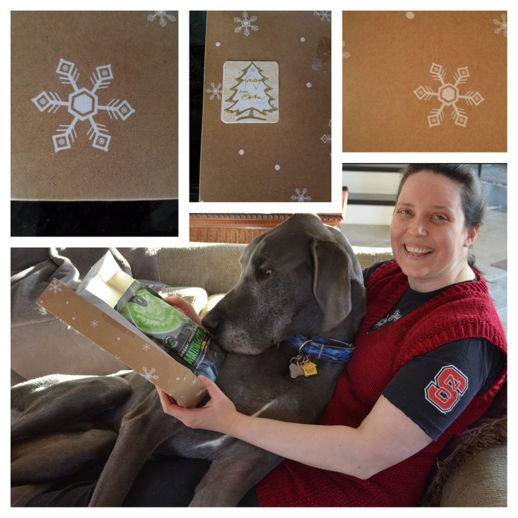 From Santa, no less!  Our favorite Matcha. Yes, that's actual Christmas morning 2019 - Remix Hour vest, college t-shirt, Great Dane blanket, delicious present, and design inspiration sparking initial ideas.