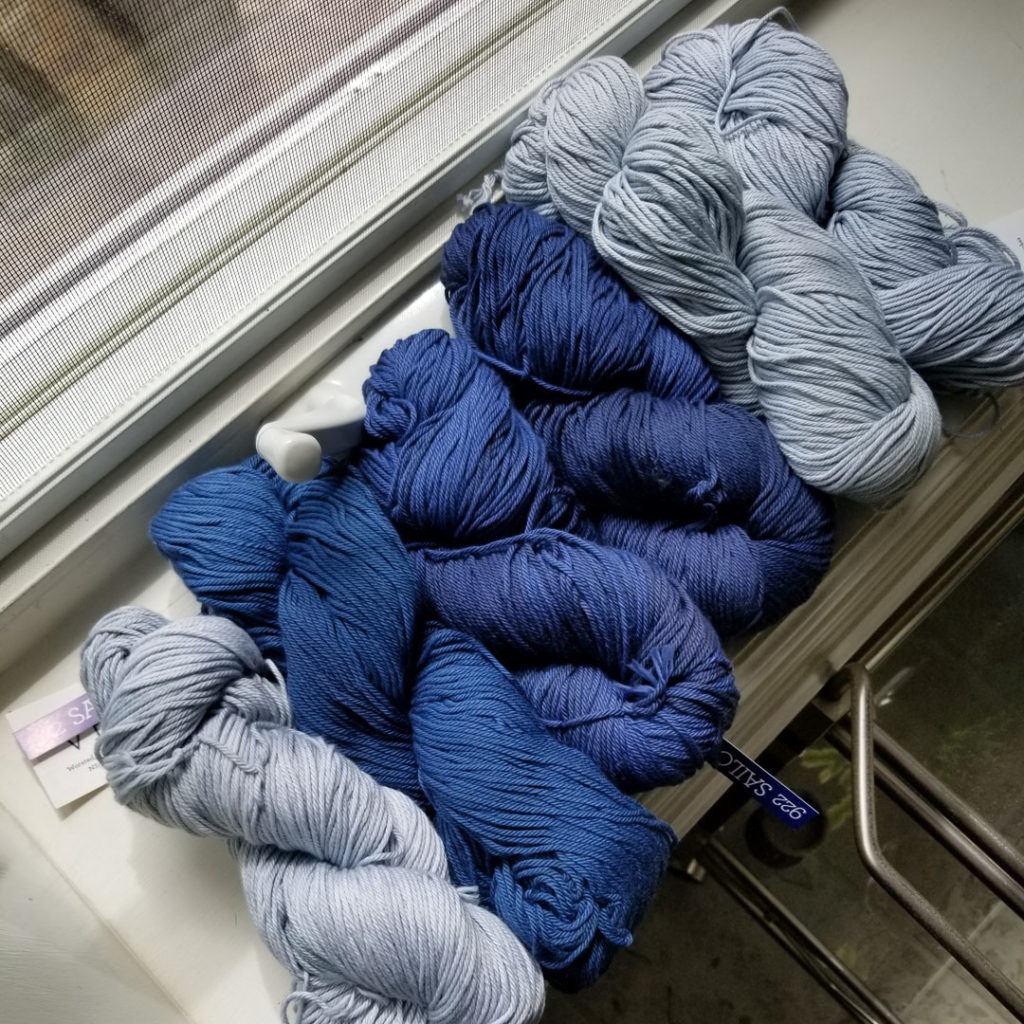 Yarn support meet on-line LYS purchase.  Different dye lots, but look at those gorgeous tonal gradients!